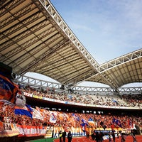 Photo taken at Denka Big Swan Stadium by omisado O. on 3/9/2013