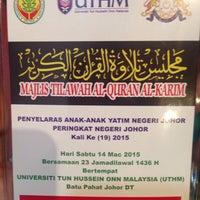 Photo taken at Dewan Tunku Mahkota Ismail (DTMI) , UTHM by Fatin H. on 3/14/2015