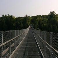 Photo taken at Ranney Gorge Suspension Bridge by April D. on 8/2/2014