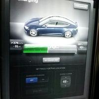 Photo taken at Tesla Supercharger by Lauren on 1/28/2014