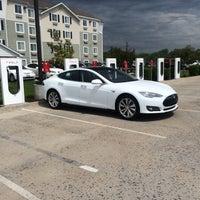 Photo taken at Tesla Supercharger by Lauren on 4/20/2014