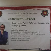Photo taken at School of Labor and Industrial Relations (SOLAIR), University of the Philippines by VP Teody on 10/20/2017