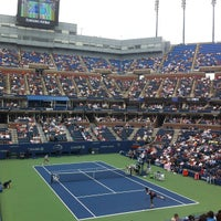 Photo taken at Arthur Ashe Stadium by Joey R. on 9/6/2012