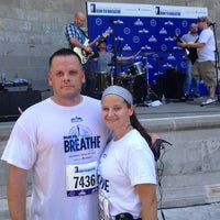 Photo taken at Boomer's Cystic Fibrosis Run to Breathe Starting Line by Rob L. on 7/12/2014