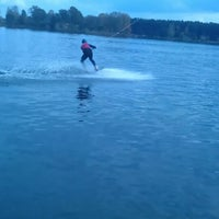 Photo taken at Ozolnieku Wakeboard by Kitija K. on 10/4/2014