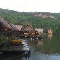 Photo taken at River Kwai Jungle Raft Floating Hotel Kanchanaburi by Paul S. on 6/11/2013