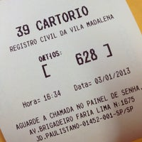Photo taken at 39º Cartório de Registro Civil da Vila Madalena by Ricardo M. on 1/3/2013