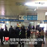 Photo taken at Myeong-dong Stn. by Kazuyuki Y. on 1/29/2013