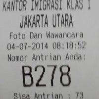 Photo taken at Kantor Imigrasi Kelas I Jakarta Utara by helen p. on 7/4/2014