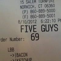 Photo taken at Five Guys by Shannon S. on 8/10/2012