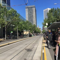 Photo taken at Tram Stop 5 - Melbourne Central (19/57/59) by Chi Y. on 10/21/2017
