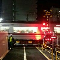 Photo taken at 東武伊勢崎線第38号踏切(竹ノ塚駅北側踏切) by Clara . on 12/14/2016