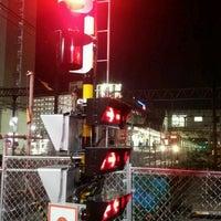 Photo taken at 東武伊勢崎線第38号踏切(竹ノ塚駅北側踏切) by Clara . on 1/24/2017
