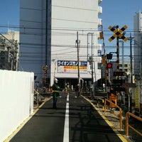 Photo taken at 東武伊勢崎線第38号踏切(竹ノ塚駅北側踏切) by Clara . on 1/18/2017