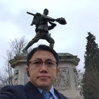 Photo taken at Cambridge War Memorial by Kyaw Min S. on 3/19/2015