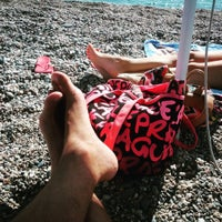 Photo taken at Spiaggia Di Fondachello by Bean C. on 10/8/2015