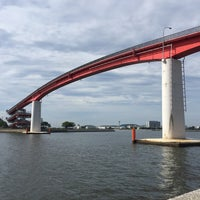 Photo taken at 中の島大橋 by Tomomasa M. on 7/2/2017