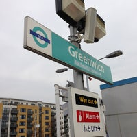 Photo taken at Greenwich DLR Station by Alan B. on 3/21/2013