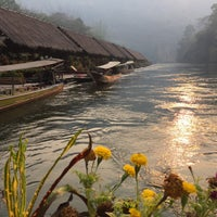 Photo taken at River Kwai Jungle Raft Floating Hotel Kanchanaburi by Ray K. on 3/1/2017