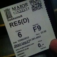 Photo taken at Major Cineplex Sukhumvit by FCA Bill m. on 9/13/2012