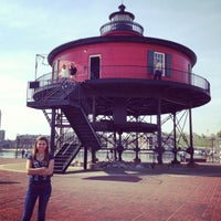 Photo taken at Seven Foot Knoll Lighthouse by Laura M. on 4/14/2012