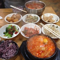 Photo taken at Myung-dong Soft Tofu House Korean Restaurant by Joanna C. on 2/23/2015