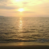 Photo taken at Bang Saen Beach by Pongsagorn B. on 12/9/2012