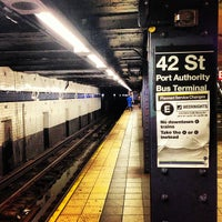 Photo taken at MTA Subway - 42nd St/Times Square/Port Authority Bus Terminal (A/C/E/N/Q/R/S/W/1/2/3/7) by Tiago C. on 7/21/2013