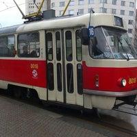Photo taken at Palmovka (tram, bus, trol) by Tigra . on 6/25/2013