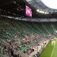 Photo taken at Stadion Wrocław by Marina D. on 6/8/2012