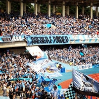 Photo taken at Todoroki Athletics Stadium by motoy h. on 5/26/2012