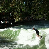 Photo taken at Eisbach Wave by julia v. on 9/9/2012