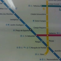 Photo taken at Metro Praça de Espanha [AZ] by Ana Paula P. on 6/8/2012