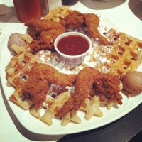 Photo taken at Dame's Chicken & Waffles by Briana H. on 2/11/2012