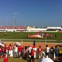 Photo taken at Estádio Municipal José Nazareno do Nascimento (Nazarenão) by Rodrigo M. on 9/10/2011