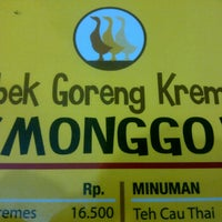 Photo taken at Bebek Goreng Kremes Monggo by anastacia r. on 10/7/2011