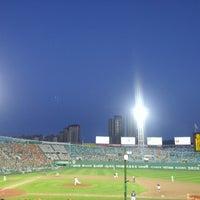 Photo taken at Sajik Baseball Stadium by Sung Keun K. on 8/25/2012