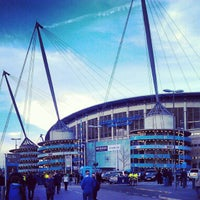 Photo taken at Etihad Stadium by Joe F. on 4/11/2012