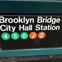 Photo taken at MTA Subway - Brooklyn Bridge/City Hall/Chambers St (4/5/6/J/Z) by Masashi S. on 4/18/2012