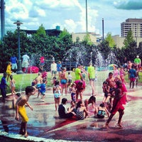 Photo taken at Riverwalk Splashpad by Justin H. on 8/26/2012