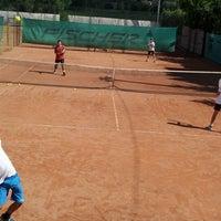 Photo taken at Röpte teniszpálya/lelátó :o) by Anikó Z. on 6/26/2012