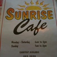 Photo taken at Sunrise Cafe by Tom S. on 9/9/2012