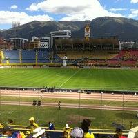 Photo taken at Estadio Olimpico Atahualpa by Pancho T. on 6/10/2012