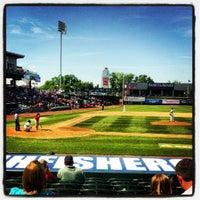 Photo taken at Northeast Delta Dental Stadium by Mackenzie K. on 6/10/2012
