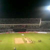 Photo taken at Rajiv Gandhi Cricket Stadium by Adithya N. on 10/14/2011