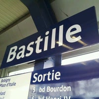 Photo taken at Métro Bastille [1,5,8] by Vicky K. on 2/29/2012