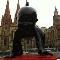 Photo taken at Tram Stop 13 - Federation Square (3/3a/5/6/16/64/67/72) by Daniel C. on 10/7/2011