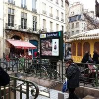 Photo taken at Métro Saint-Paul – Le Marais [1] by R A. on 12/29/2010