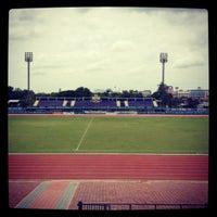 Photo taken at สนามกีฬาจังหวัดพระนครศรีอยุธยา by Bell S. on 8/21/2012