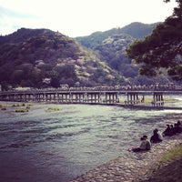 Photo taken at Togetsu-kyo Bridge by Masaharu M. on 4/15/2012